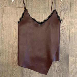 Zara Tops - Gorgeous faux leather maroon top with lace detail